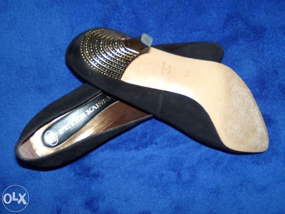 pantofi negri de velur negru,calitate germana,toc potrivit auriu, star
