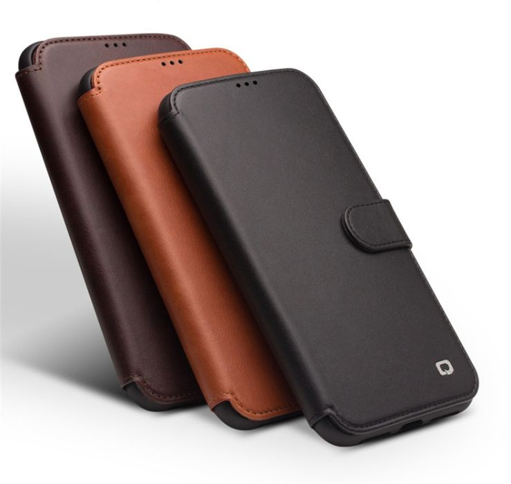 Husa piele naturala Qialino, iPHONE XS MAX, magnetica, protectie 360