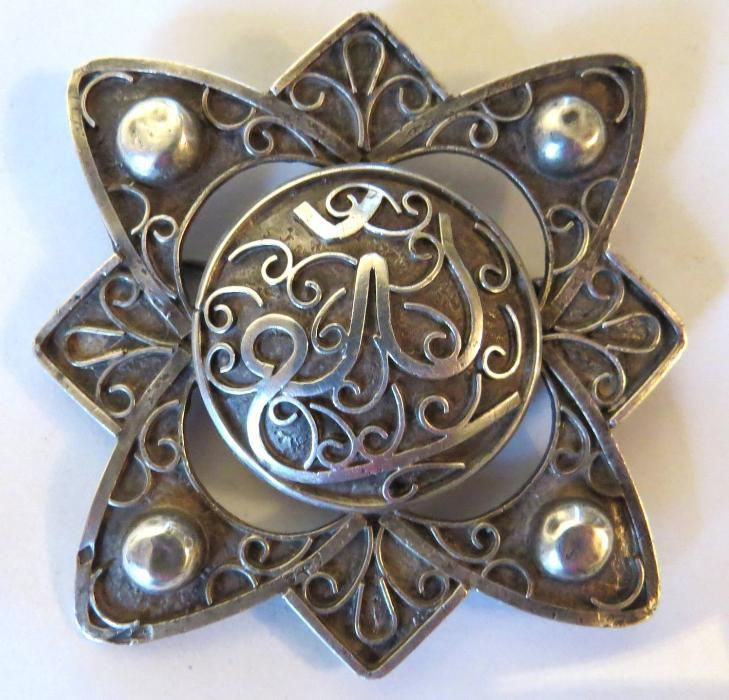 Brosa de dama, persana veche, argint, superba