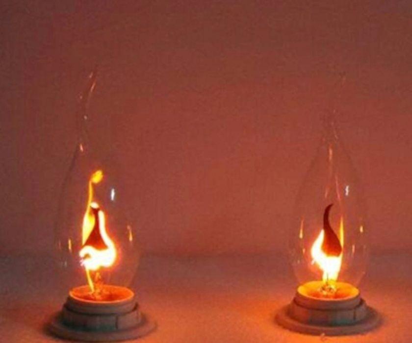 Лампа Е14 имитираща пламък на свещ(глим декоративна)