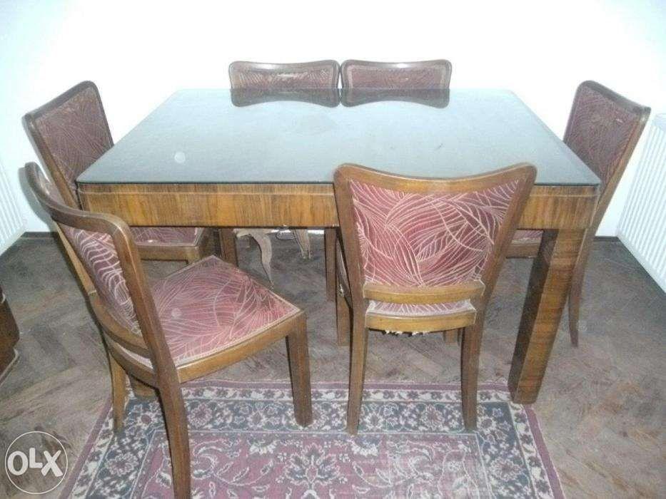 Vand masa lemn masiv cu furnir de nuc, geam cristal si 6 scaune