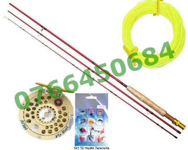 Set Complet Baracuda Fly Pescuit musca Lanseta + Mulineta + Fir+ Muste