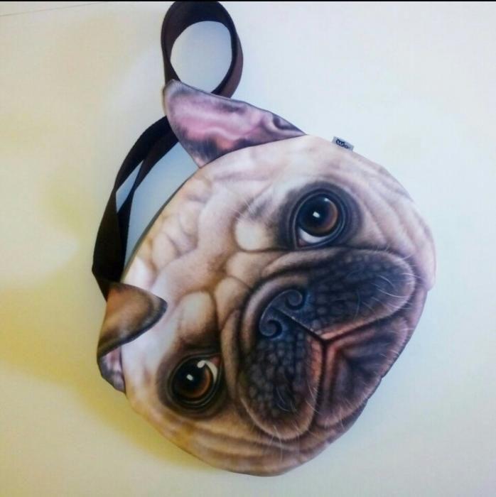 Дамска чанта куче мопс 3D принт двустранен, хастар, малък джоб, нова