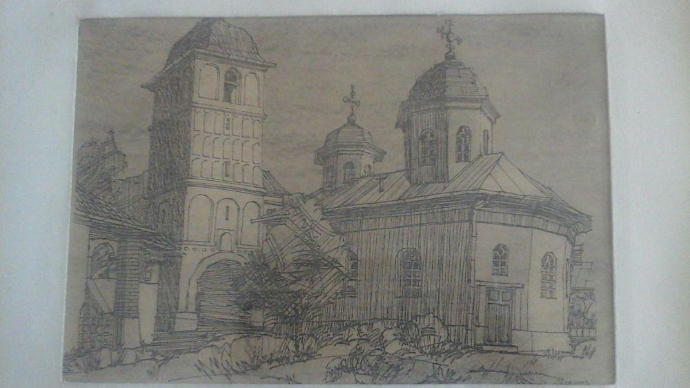 Gravura de Damboianu Mănăstirea Negru Voda lucrare expertizat și eval