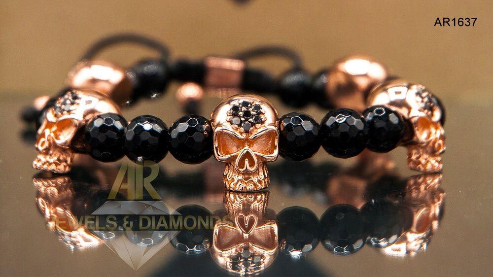 Bratara Aur Rose cu Diamante Negre model unisex Skull Arjewels(AR1637