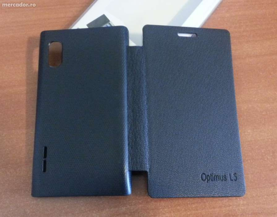 Husa NEAGRA Toc Flip Cover LG Optimus L5 E610 / E612 + Folie