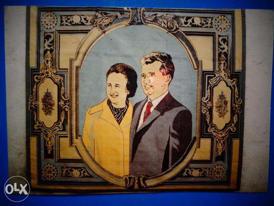 Covor manual lana cu portret Nicolae si Elena Ceausescu Bucuresti - imagine 4