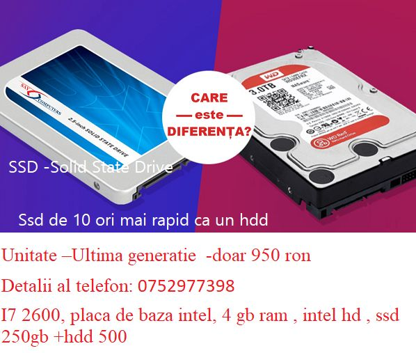 I7 2600, placa de baza intel, 4 gb ram , intel hd , ssd 250gb +hdd 500