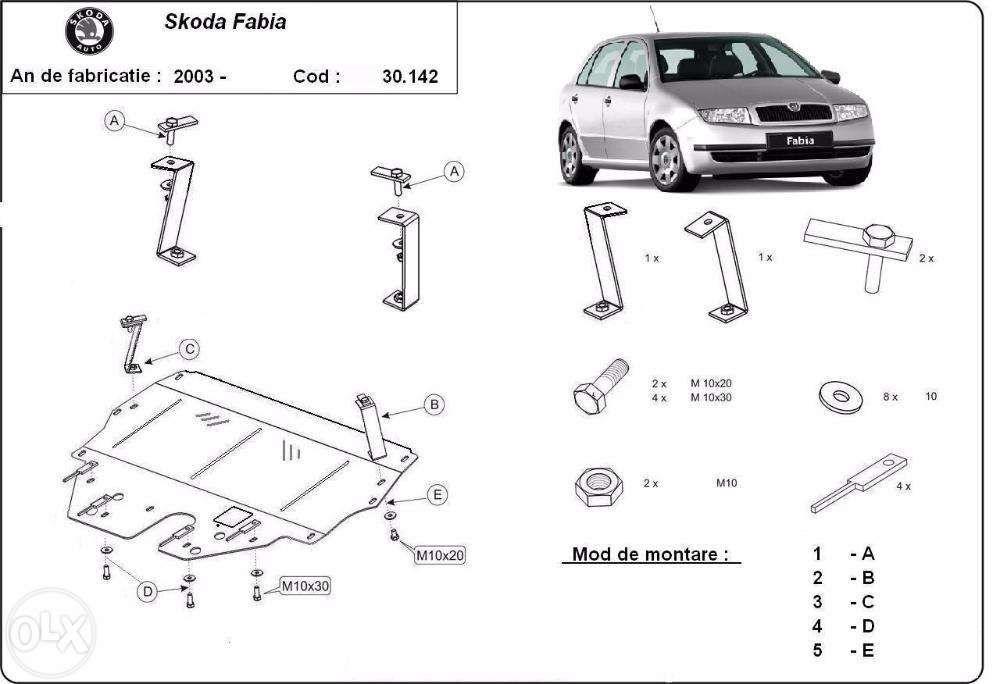 Scut metalic pentru motor Skoda Fabia 2000-2012 - otel 2mm