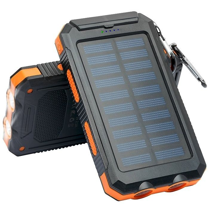 Power Bank 2 USB Solar Charger Case With LED