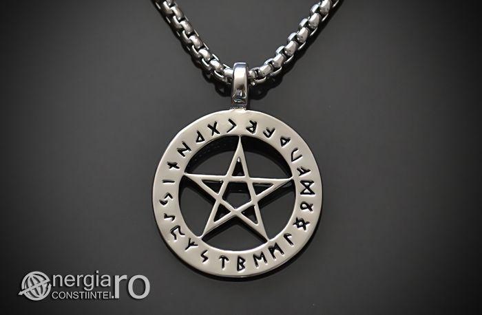 Pandantiv, Amuleta Protectoare Pentagrama cu Rune - cod PND038