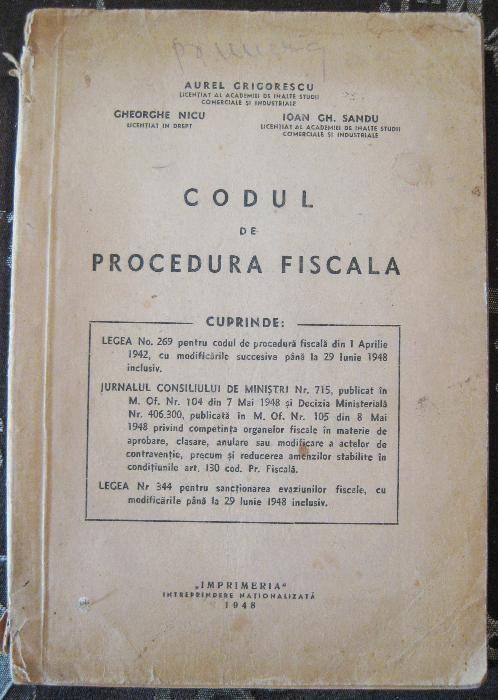 Codul de procedura fiscala 1948 - Grigorescu