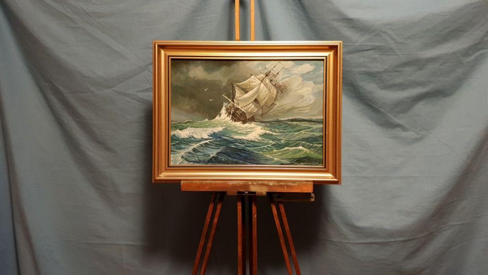Pictura, Tablou in ulei cu rama, furtuna 30x40