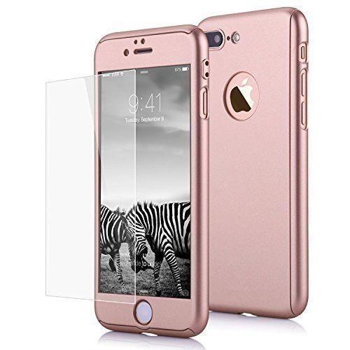Husa 360 grade pentru Iphone 7 ROSE-GOLD cu folie de protectie inclusa