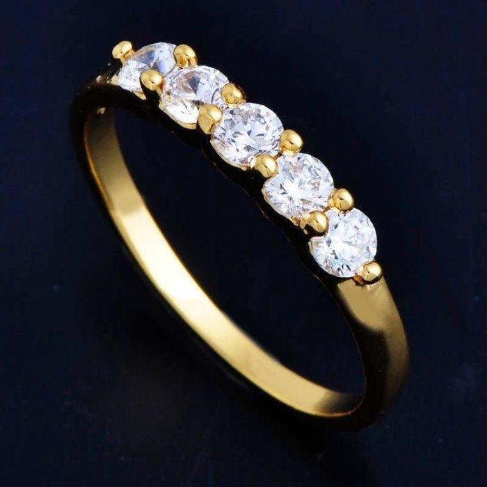 GR187,inel placat aur 18k, model logodna zircon alb