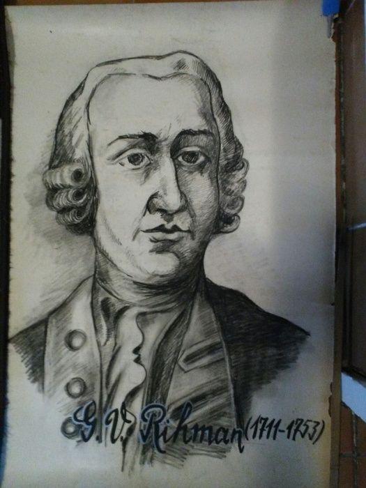 5 Portrete in carbune Volta,Joule,Rihman,T,iolkovski ,Lenz