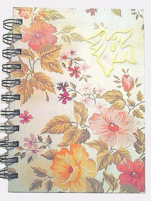 Caiet/carnetel A5, coperta cartonata, lucios, fosforescent- flori alb