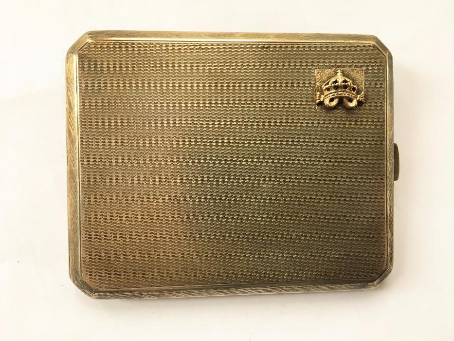 Сребърна табакера със златна царска корона ръчна изработка уникат