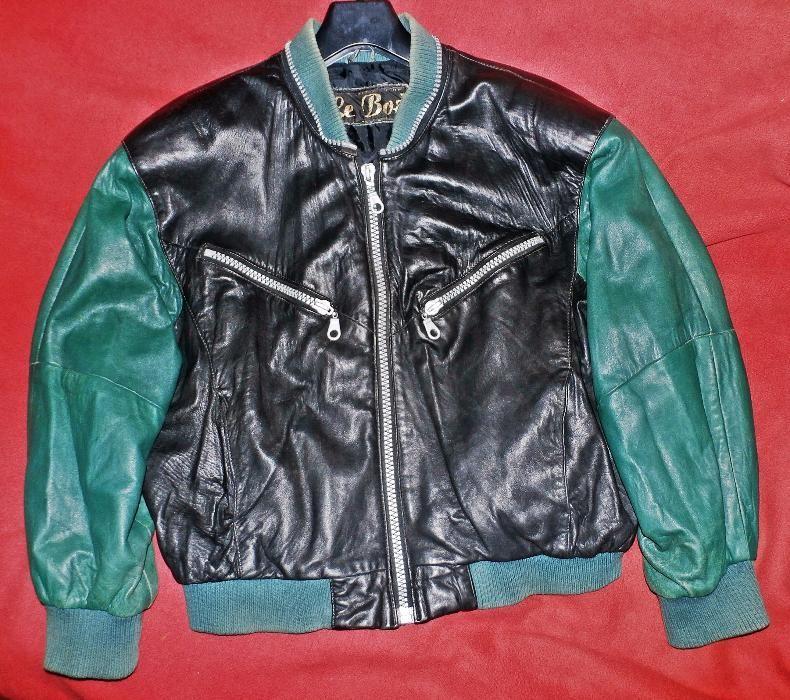 Кожено яке - зелено/черно