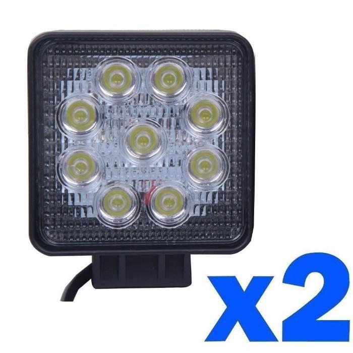 2 Proiectoare LED auto offroad 27W patrat set 2 bucati proiector