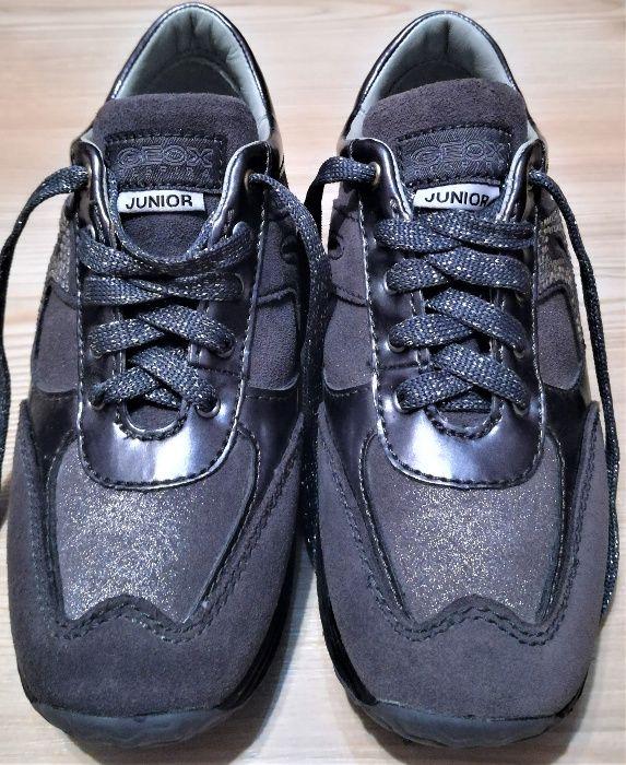 Pantofi Geox Respira Junior Girl Leather Sneaker Grey J Happy, 31