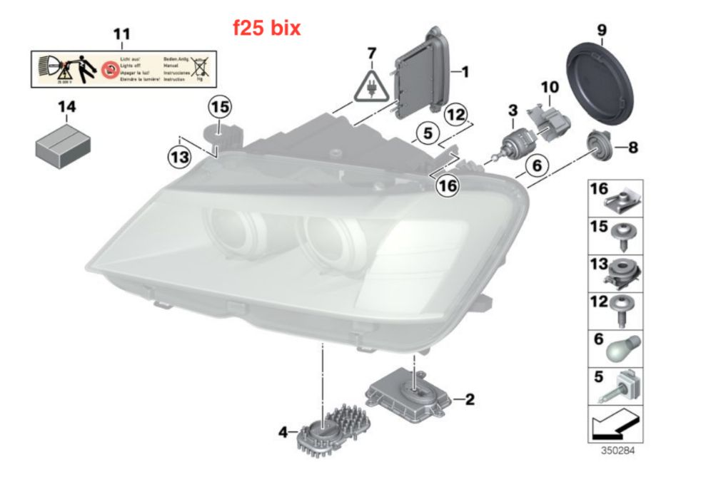 BMW X3 F25 Headlights Xenon / dynamic modul droser tms balasst LED far