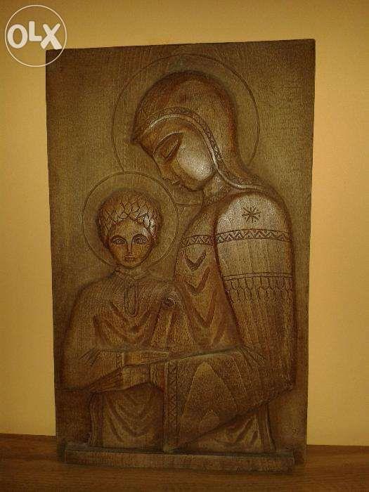 Fecioara cu pruncul sculptura lemn originala