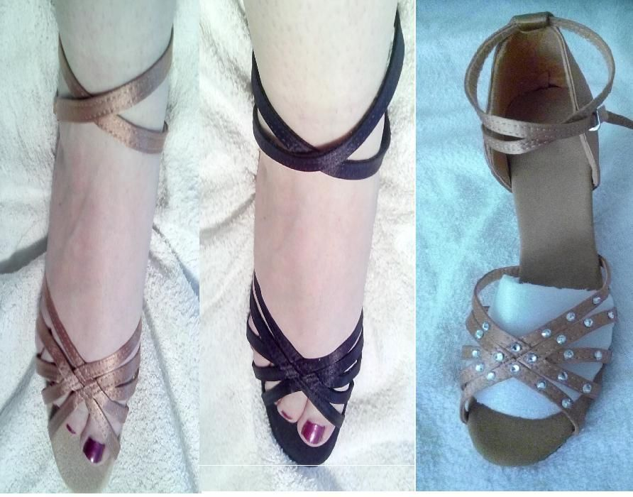 2цвята обувки за спортни танци,салса,кизомба,танго-сатен