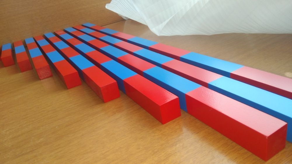 Монтесори Дървени Числови Летви синьо-червени пръчки стикове гр. Бургас - image 3