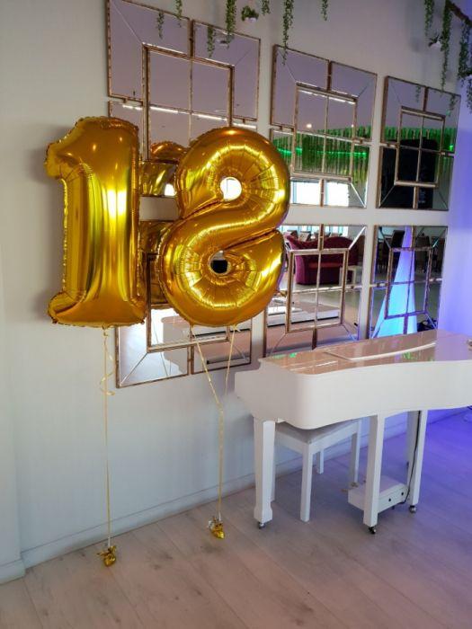 Baloane cifre folie 105 cm cu aer sau heliu Gold Silver Blue
