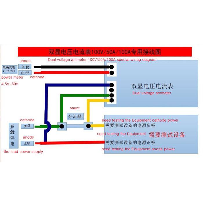 ampermetru voltmetru digital afisaj dublu rosu albastru 10A DC 0-100
