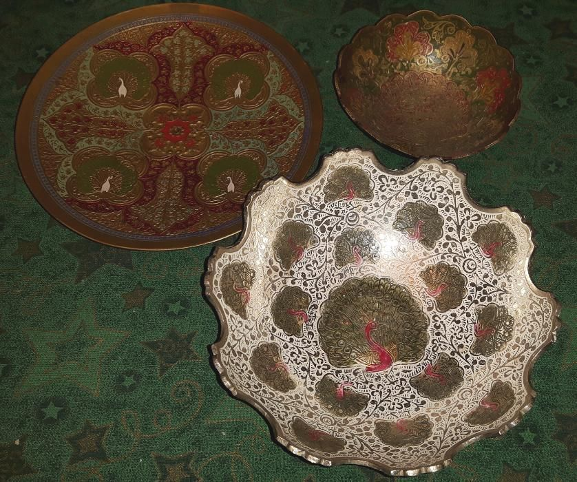 Старинен комплект ПАУНИ, Лот 3 бр. /общо тегло - 880 гр