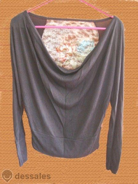 Нова блуза тъмнокафява с прилеп ръкав и украса на гърба