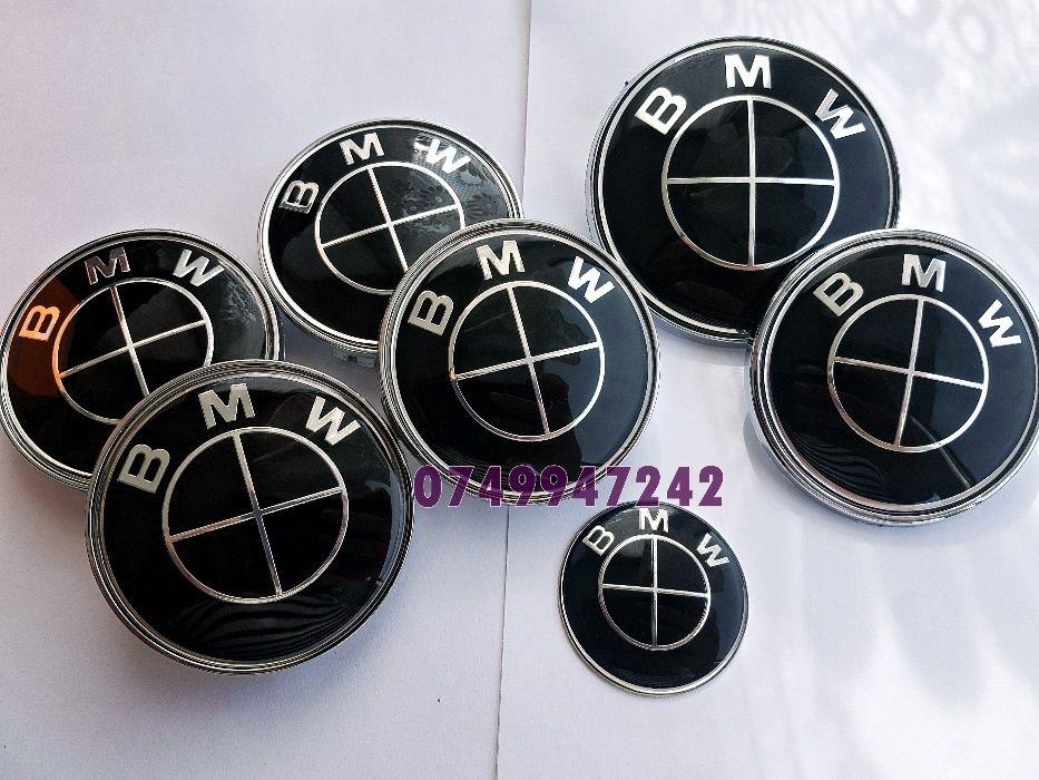 Set BMW 7 buc embleme capota portbagaj volan capace jante aliaj