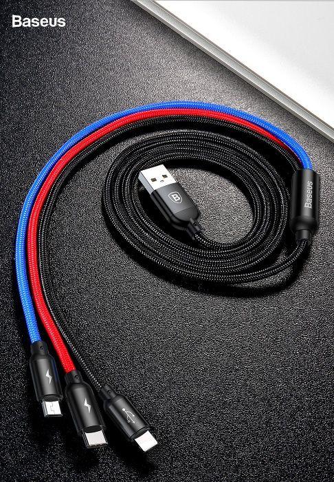 Baseus FAST DATA кабел за зареждане 3 в 1 Type-C, micro USB, pins 3 в1