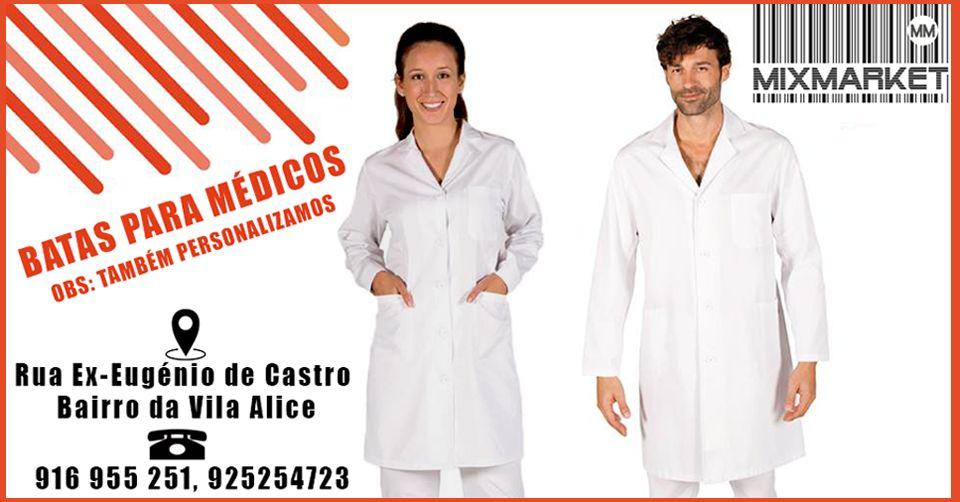 Batas para médicos. Temos modelo feminino e masculino. Personalizadas