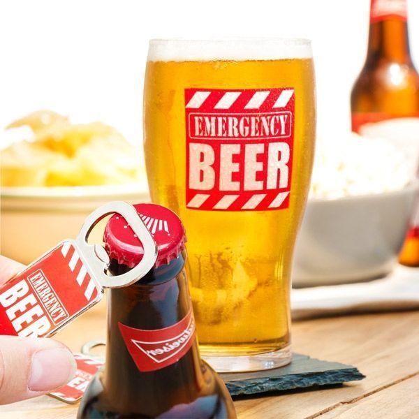 """Чаша за бира с отварачка """"Emergency Beer"""""""