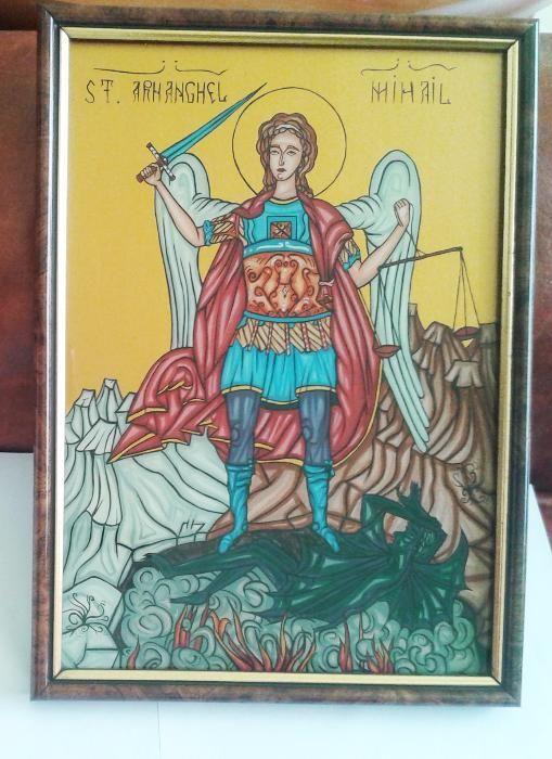 Icona Sf Mihail. Handmade. Cadou nasi miri parinti nunta botez coleg