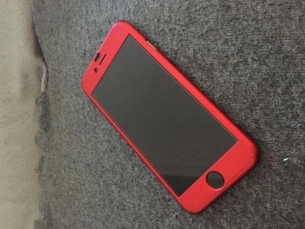 Husa rosie 360 grade protectie pt iPhone 6/6s + Folie de sticla gratis