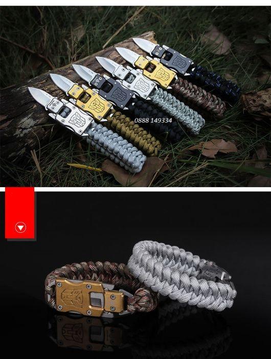 Гривна от паракорд с нож ножче за оцеляване grivna paracord parakord