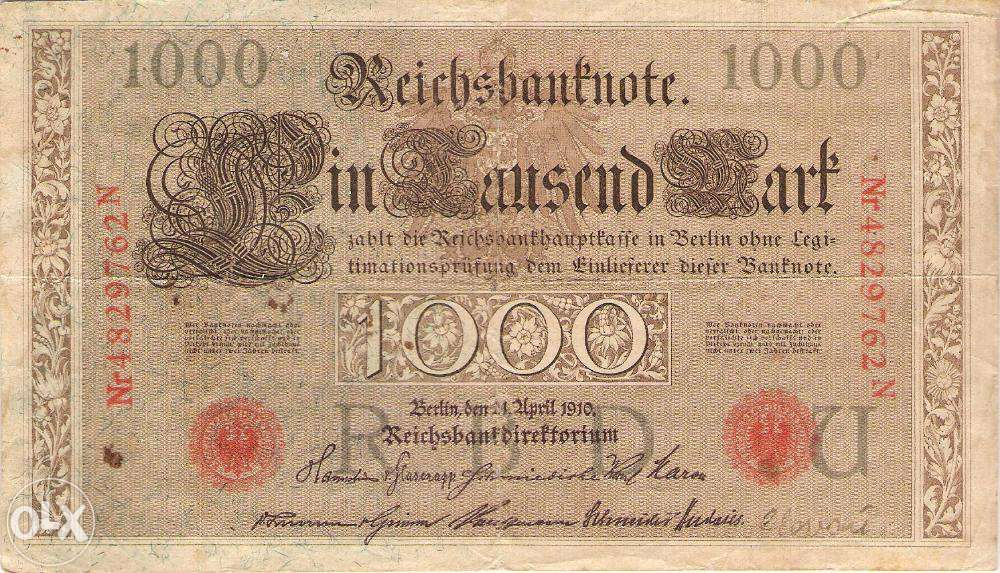 Bancnota Germania 1000 marci 1910