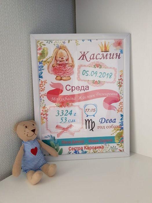 Метрика. Подарок на выписку. Подарок новорожденному. Постер достижений