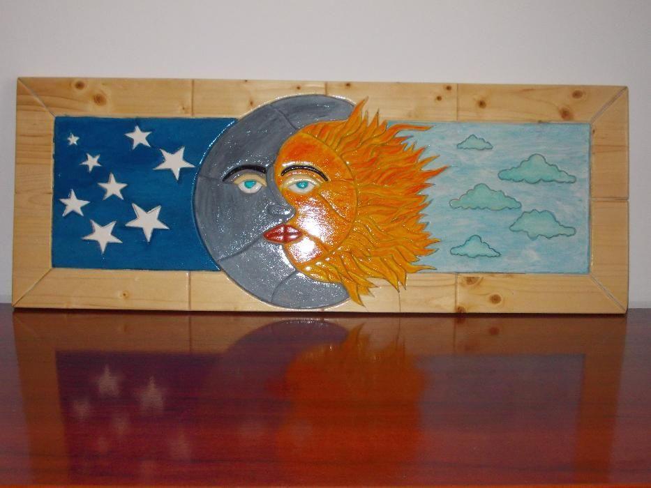 Tablou Intarsia pictat cu acrilice UNICAT, tablou din lemn, tablouri