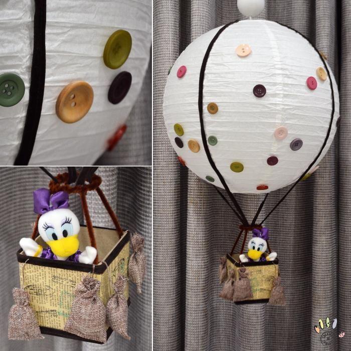 Corp iluminat / abajur, camera copil, balon cu aer, decorat cu nasturi
