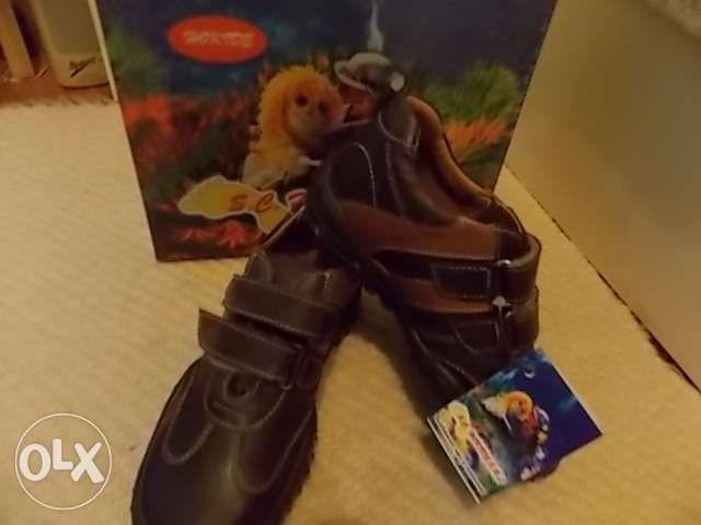 Pantofi maro din piele pt baieti mar 34