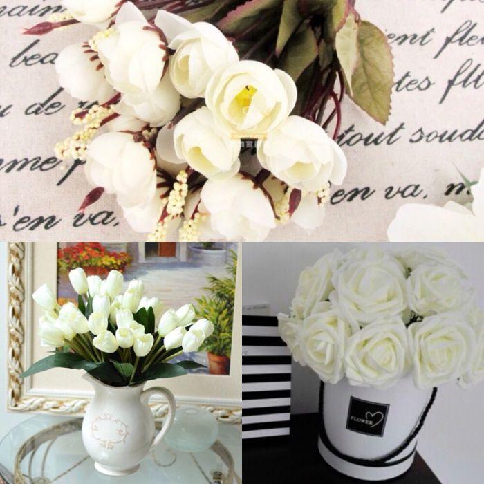 Красиви бели изкуствени цветя рози, лалета и други