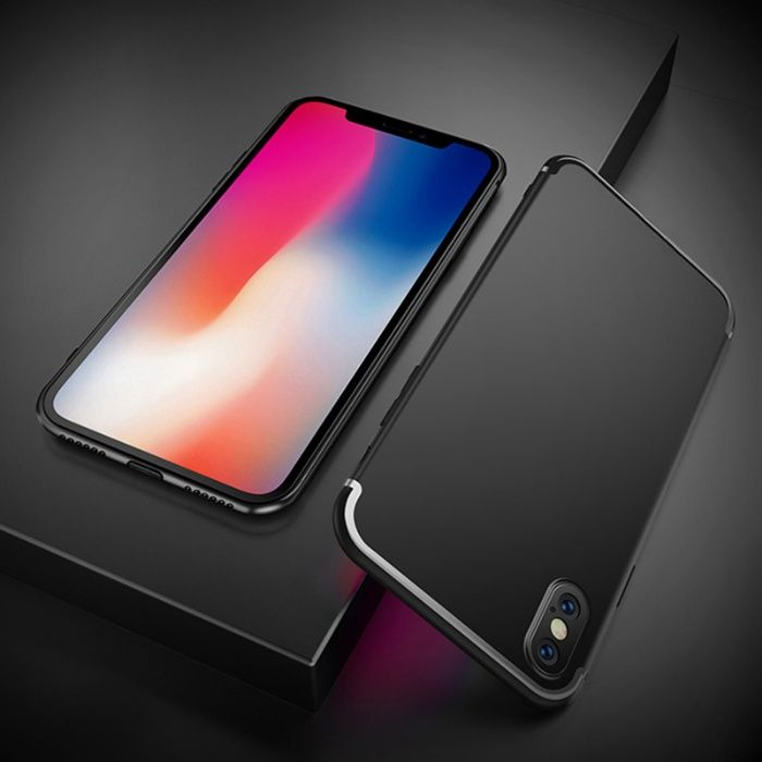 Iphone X XS 10 XR XS MAX - Pachet Husa Silicon Neagra si Folie Sticla