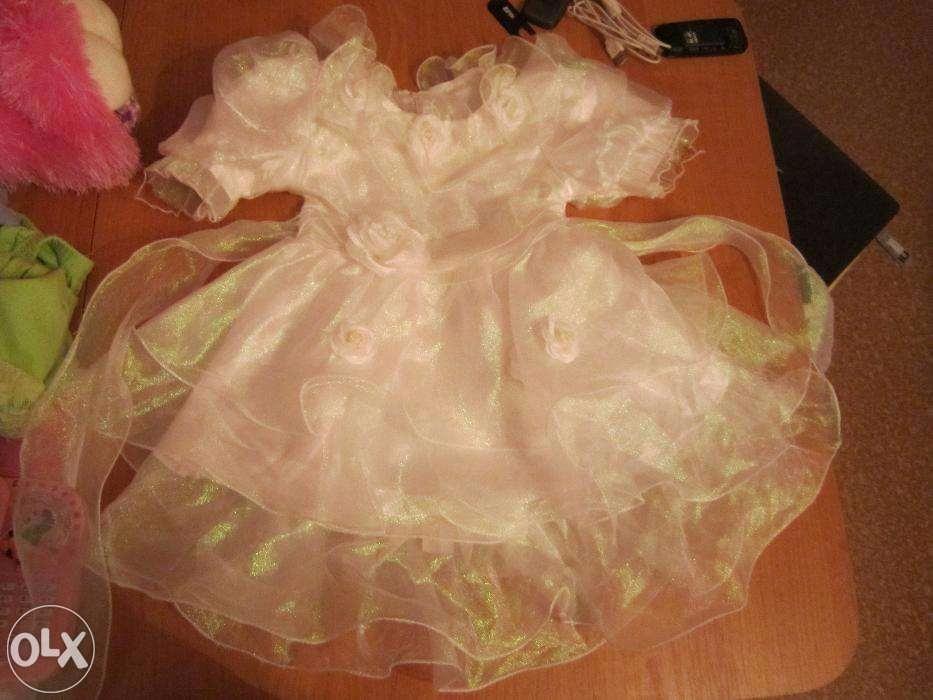 Детское праздничное белое платье