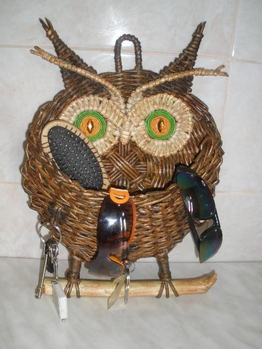плетеная сова-ключница