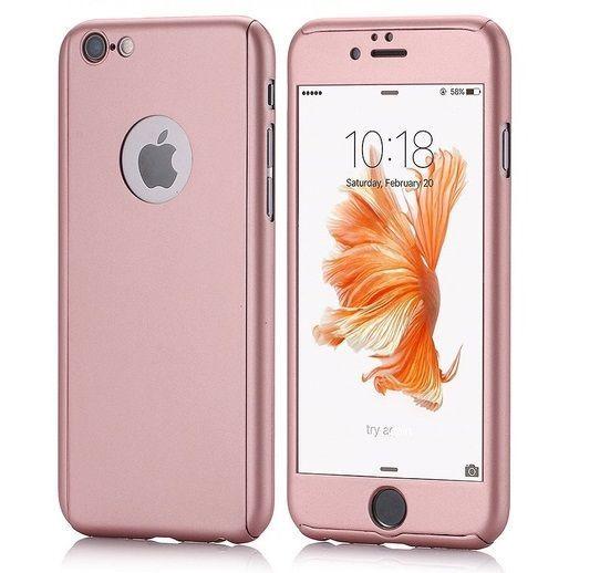 Husa iPhone 6 6s ROSE-GOLD 360 grade protectie fata-spate + Folie stic
